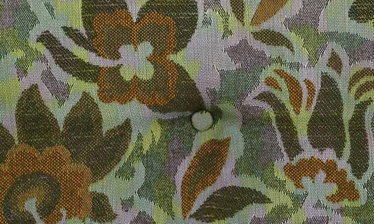 Pair of 1940s Sled-Base Club Chairs in Vivid Floral Upholstery 7