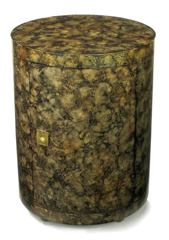 American Pair of Custom Faux Tortoise Shell Cylinder Commodes For Sale