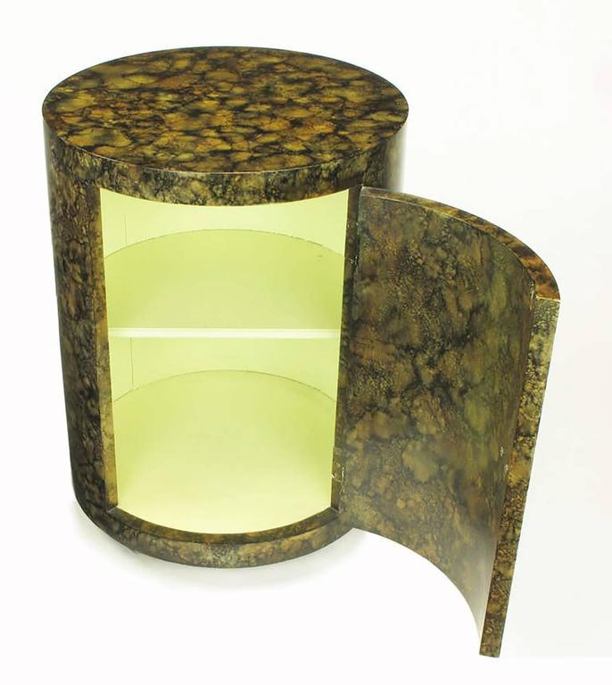 Late 20th Century Pair of Custom Faux Tortoise Shell Cylinder Commodes For Sale