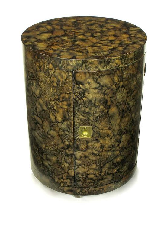 Brass Pair of Custom Faux Tortoise Shell Cylinder Commodes For Sale