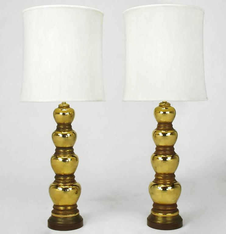 Pair of 1930s Gold-Plated Mirror Glazed Porcelain Quadruple Gourd Table Lamps 2