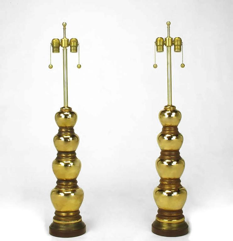 Pair of 1930s Gold-Plated Mirror Glazed Porcelain Quadruple Gourd Table Lamps 4