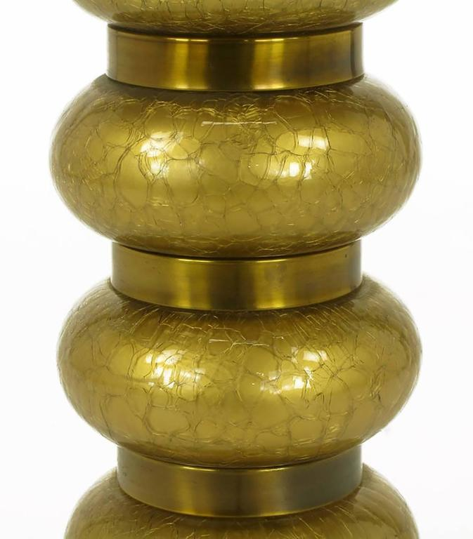 Mid-20th Century Pair of Paul Hanson Reverse Gilt Crackle Glass and Brass Table Lamps For Sale