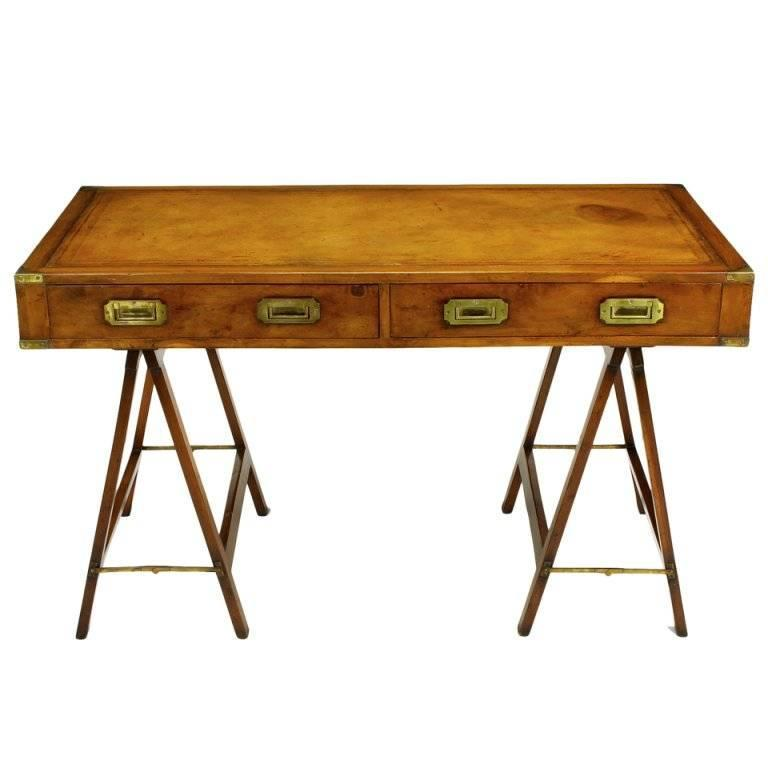 Early 1900s Campaign Desk with Tooled Leather Top 1 - Early 1900s Campaign Desk With Tooled Leather Top At 1stdibs