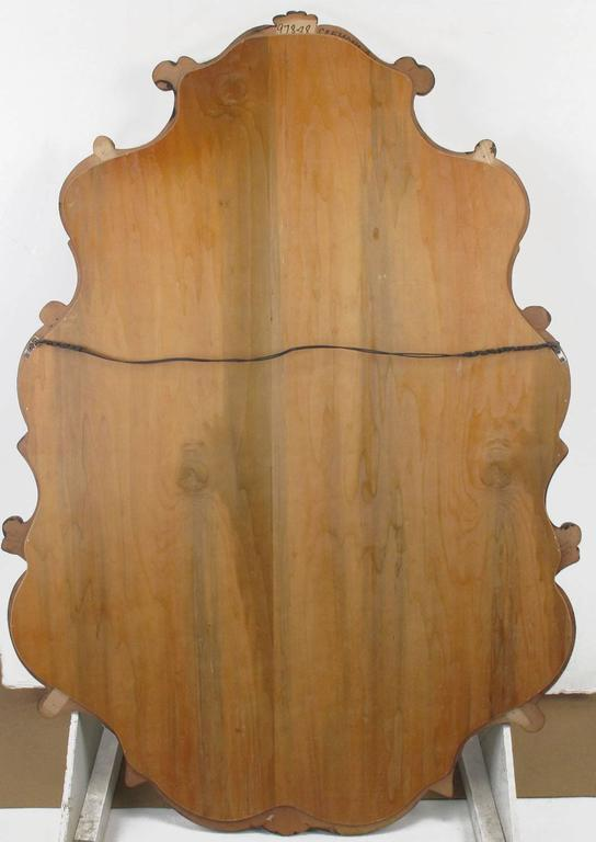 Large 1940s French Regency Style Wall Mirror with Scrolled Fruitwood Frame For Sale 4