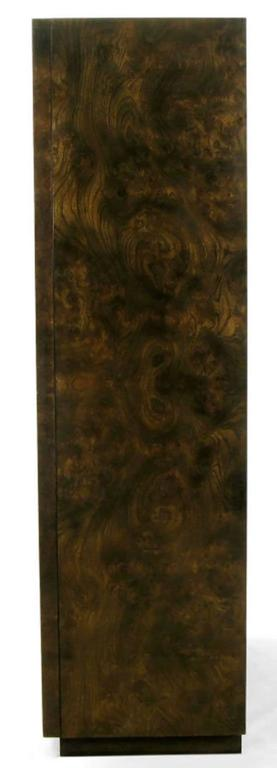 Mid-Century Modern Mastercraft Burl and Acid Etched Brass Wardrobe Cabinet For Sale