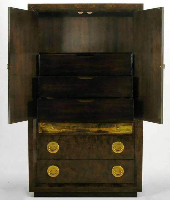 American Mastercraft Burl and Acid Etched Brass Wardrobe Cabinet For Sale