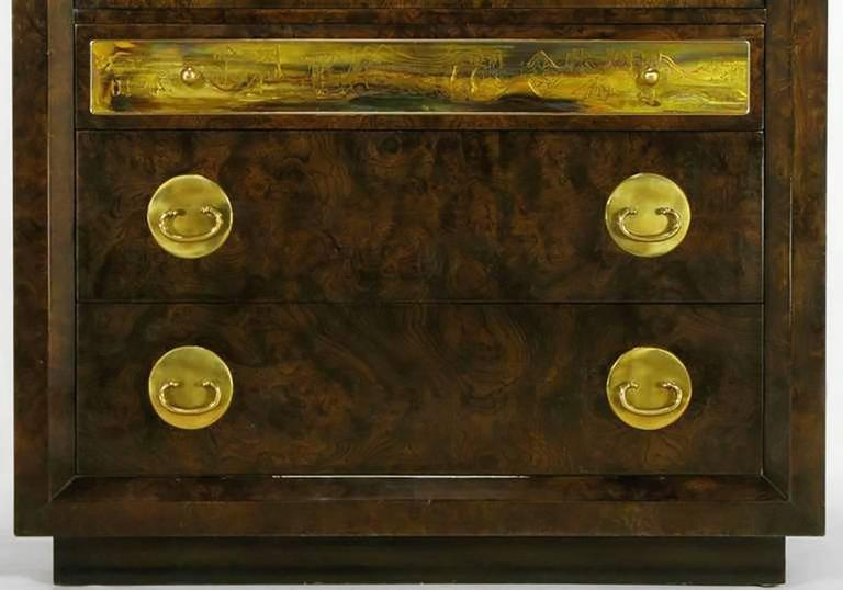 Mastercraft Burl and Acid Etched Brass Wardrobe Cabinet In Good Condition For Sale In Chicago, IL
