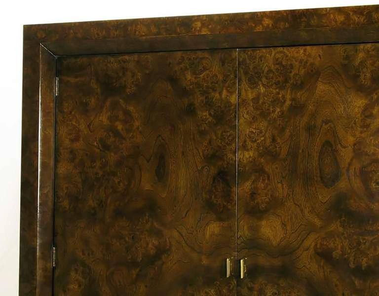 Mastercraft Burl and Acid Etched Brass Wardrobe Cabinet For Sale 2