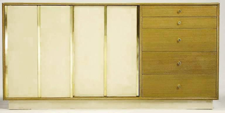 Mid-Century Modern Harvey Probber Bleached Mahogany and Ivory Leather Dresser For Sale