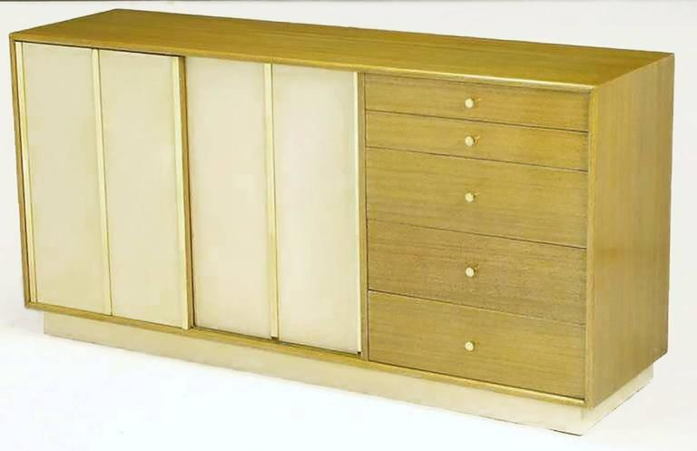 Mid-20th Century Harvey Probber Bleached Mahogany and Ivory Leather Dresser For Sale
