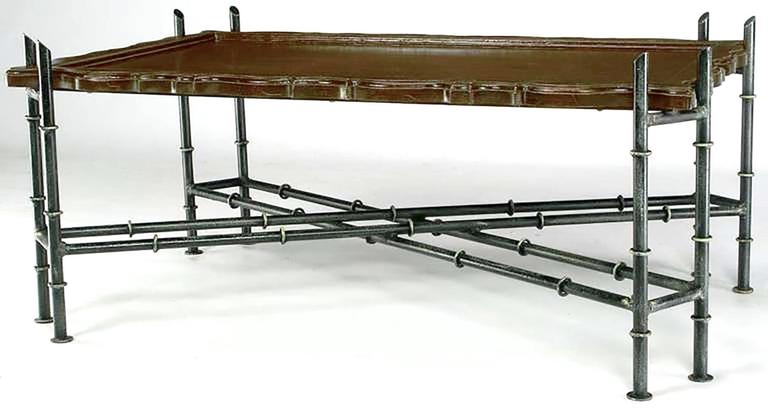 American Chinese Chippendale Coffee Table with Stylized Bamboo Iron Base For Sale