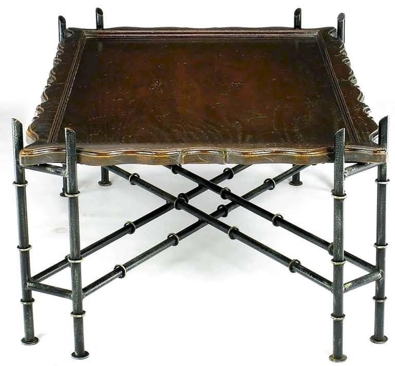 Chinese Chippendale Coffee Table with Stylized Bamboo Iron Base In Good Condition For Sale In Chicago, IL