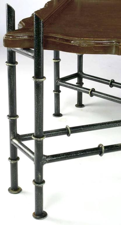 Mid-20th Century Chinese Chippendale Coffee Table with Stylized Bamboo Iron Base For Sale