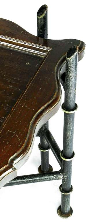 Chinese Chippendale Coffee Table with Stylized Bamboo Iron Base For Sale 1