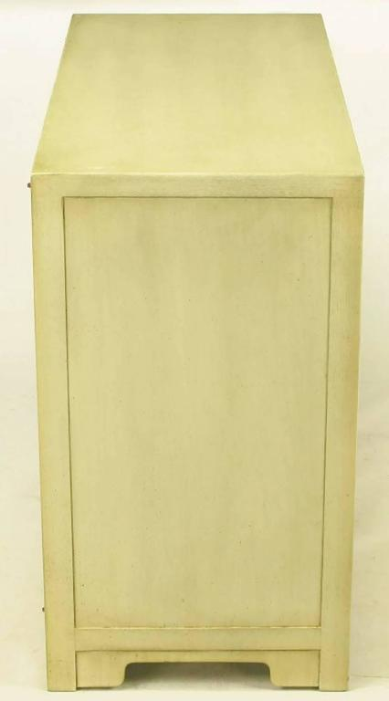 Brushed Pair of Baker Far East Collection Ivory Glazed Mahogany Cabinets For Sale