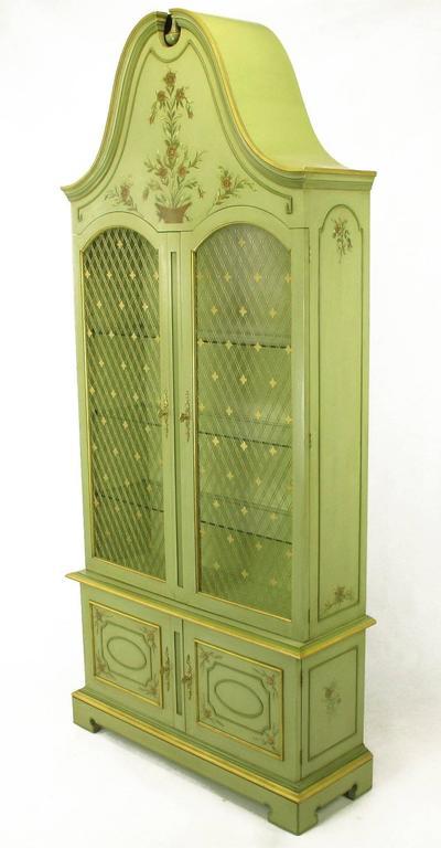 American Pair of John Widdicomb Green Regency Style Display Cabinets For Sale