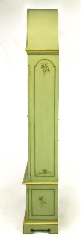 Glazed Pair of John Widdicomb Green Regency Style Display Cabinets For Sale