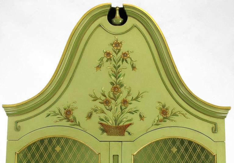 Brass Pair of John Widdicomb Green Regency Style Display Cabinets For Sale