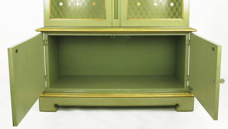 Pair of John Widdicomb Green Regency Style Display Cabinets For Sale 1