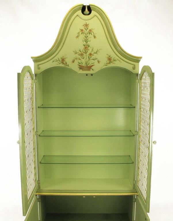 Pair of John Widdicomb Green Regency Style Display Cabinets For Sale 2