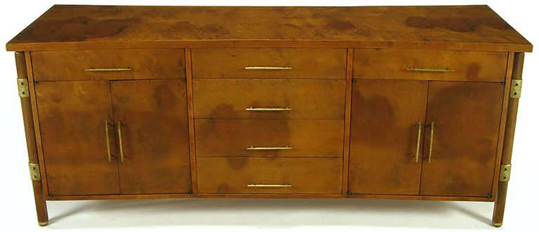 American Rare Harold M. Schwartz for Romweber Burled Sideboard with Floating Cabinet For Sale