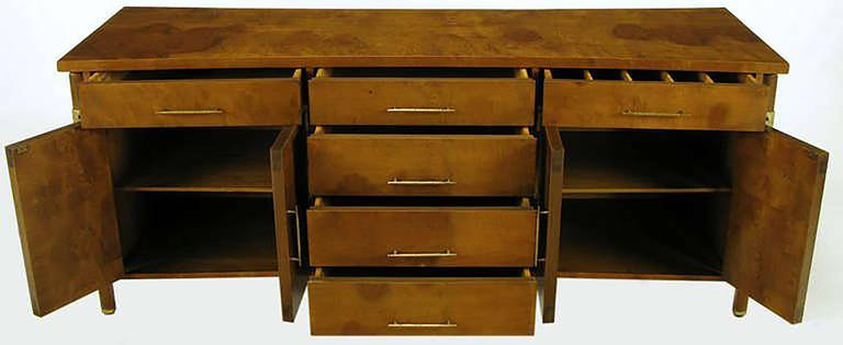 Mid-20th Century Rare Harold M. Schwartz for Romweber Burled Sideboard with Floating Cabinet For Sale