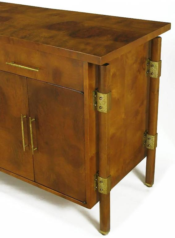 Brass Rare Harold M. Schwartz for Romweber Burled Sideboard with Floating Cabinet For Sale