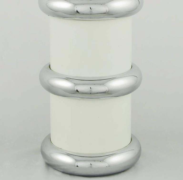 Late 20th Century Pair of Mutual Sunset White Enamel and Chrome Table Lamps For Sale