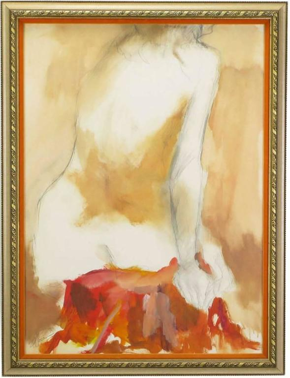 Large oil and pencil abstract nude in earth tone colors of reds, yellows, tan, orange and lavender. Nicely finished in a carved and parcel giltwood frame with velvet matting. Signed