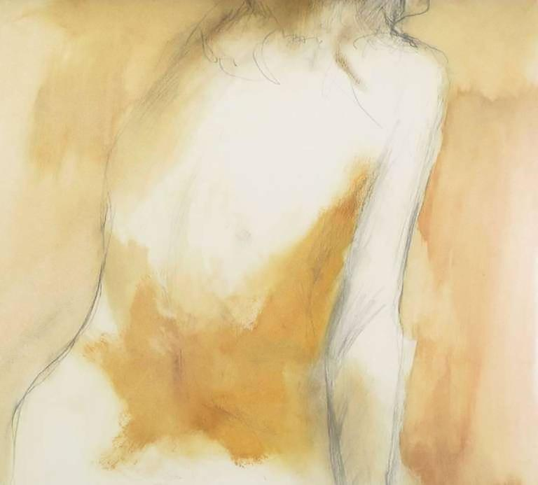 American Ed Rosen Abstract Nude Oil and Pencil on Paper For Sale