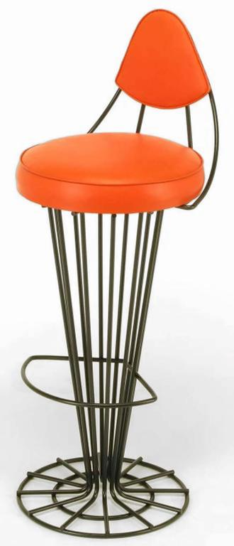 Mid-Century Modern Set of Four Sculptural Black Wrought Iron and Persimmon Bar Stools For Sale
