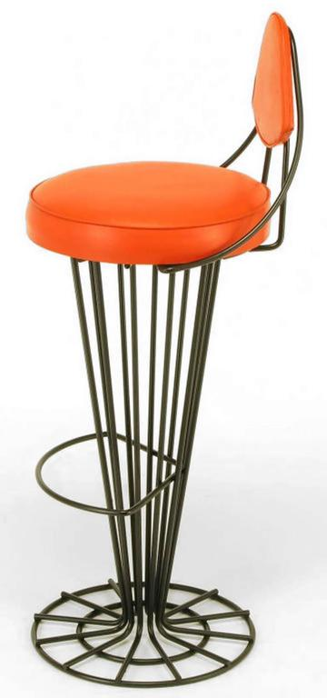 American Set of Four Sculptural Black Wrought Iron and Persimmon Bar Stools For Sale