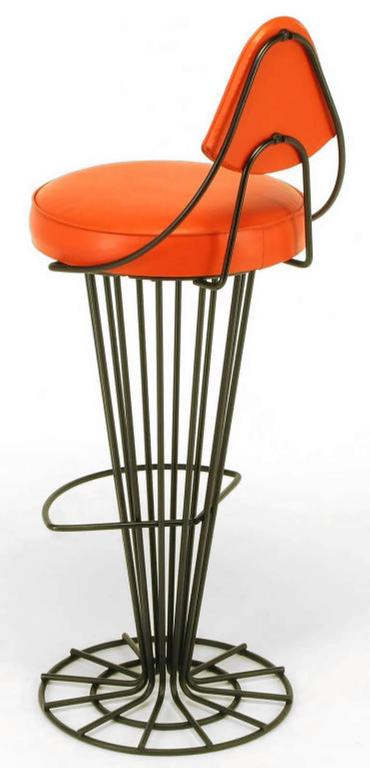 Set of Four Sculptural Black Wrought Iron and Persimmon Bar Stools In Excellent Condition For Sale In Chicago, IL