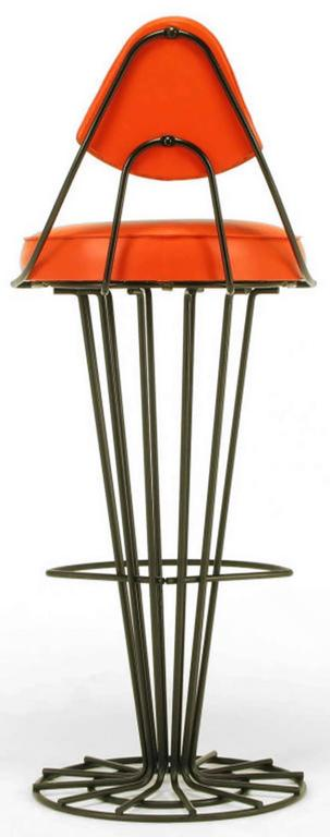 Mid-20th Century Set of Four Sculptural Black Wrought Iron and Persimmon Bar Stools For Sale