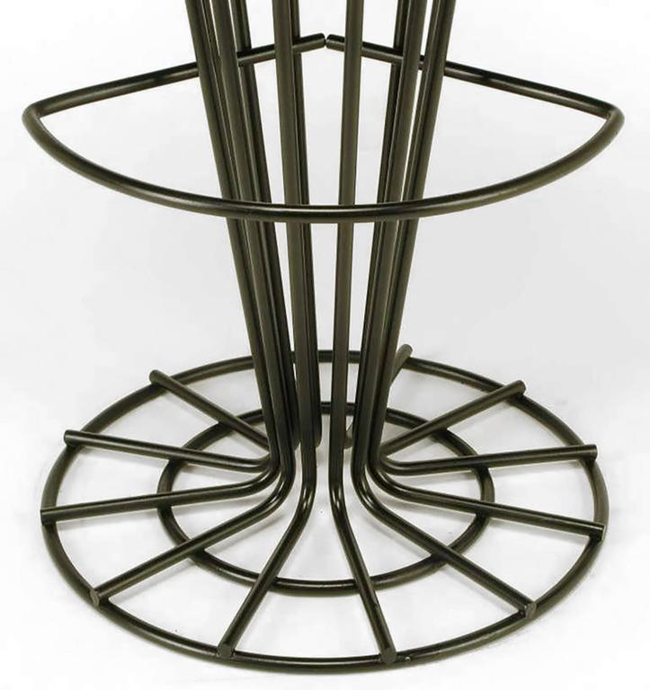 Set of Four Sculptural Black Wrought Iron and Persimmon Bar Stools For Sale 1