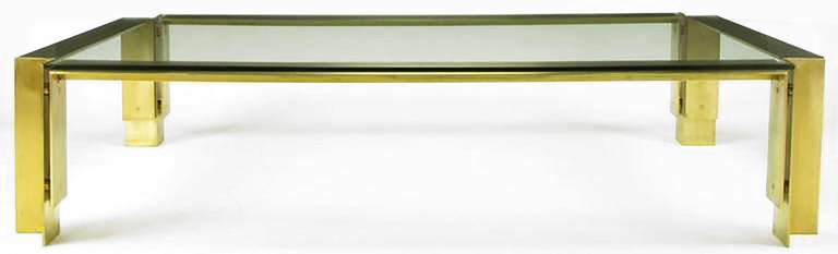Mid-Century Modern Postmodern Brushed Brass and Glass Coffee Table For Sale