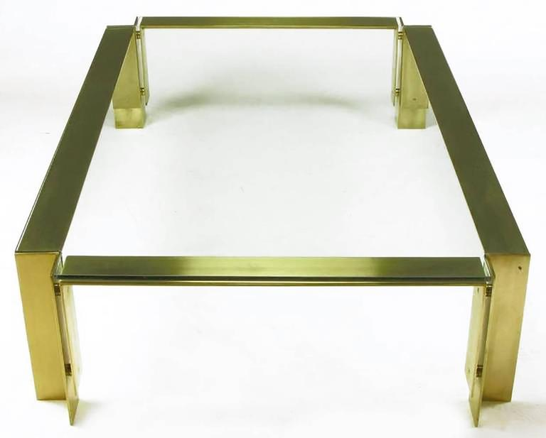 Postmodern Brushed Brass and Glass Coffee Table In Good Condition For Sale In Chicago, IL