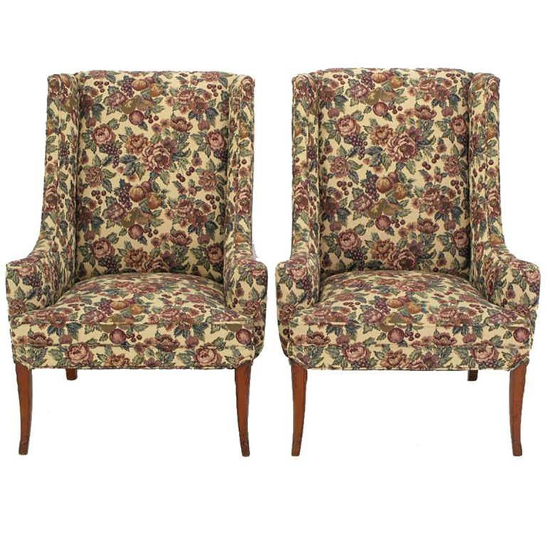 American Pair of Low-Arm Wing Chairs in Grosfeld House Manner For Sale