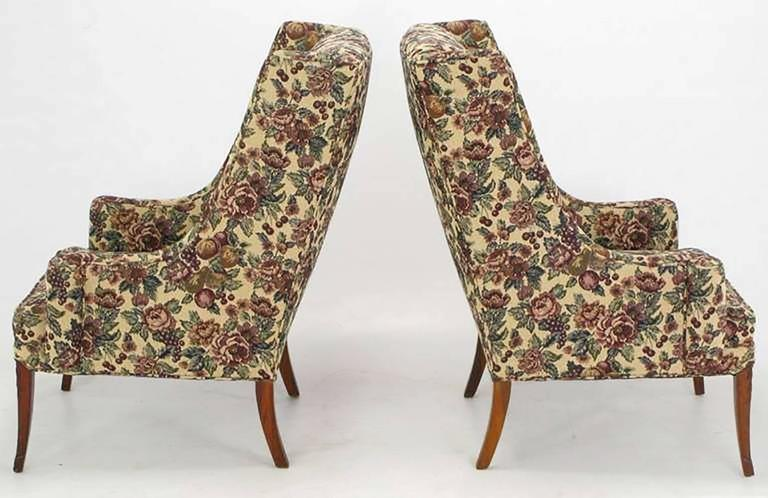 Pair of Low-Arm Wing Chairs in Grosfeld House Manner In Excellent Condition For Sale In Chicago, IL