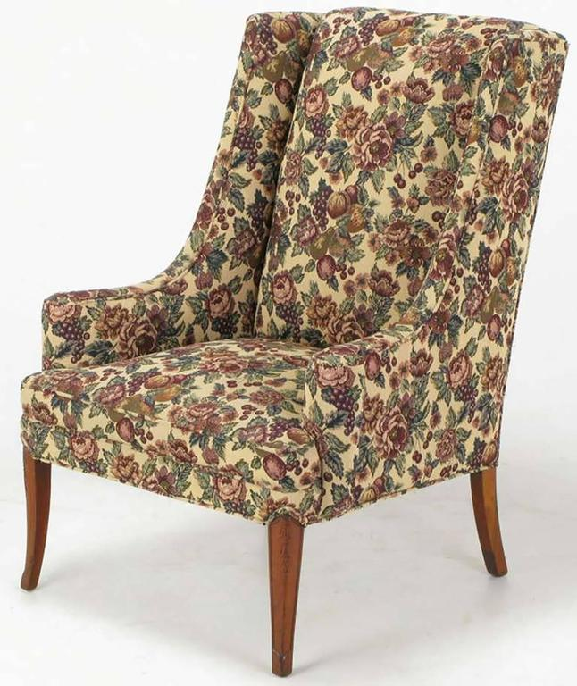 Mid-20th Century Pair of Low-Arm Wing Chairs in Grosfeld House Manner For Sale
