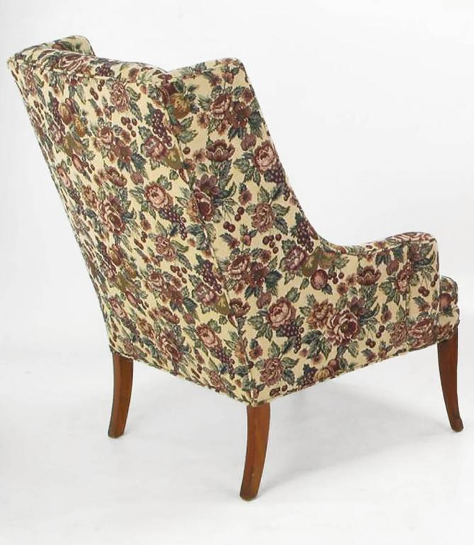 Upholstery Pair of Low-Arm Wing Chairs in Grosfeld House Manner For Sale