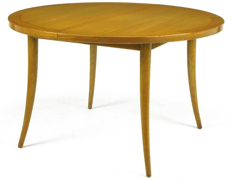 American Harvey Probber Bleached Mahogany Saber Leg Dining Table For Sale