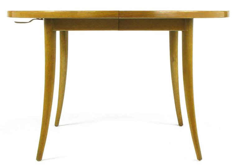 Harvey Probber Bleached Mahogany Saber Leg Dining Table In Good Condition For Sale In Chicago, IL