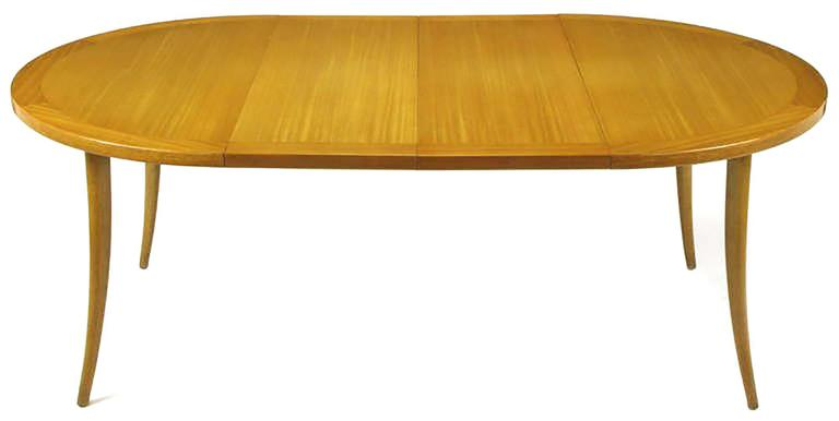 Mid-20th Century Harvey Probber Bleached Mahogany Saber Leg Dining Table For Sale