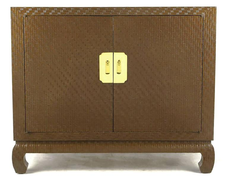 Chinoiserie Baker Asian Modern Cabinet in Chocolate Lacquered Grasscloth For Sale