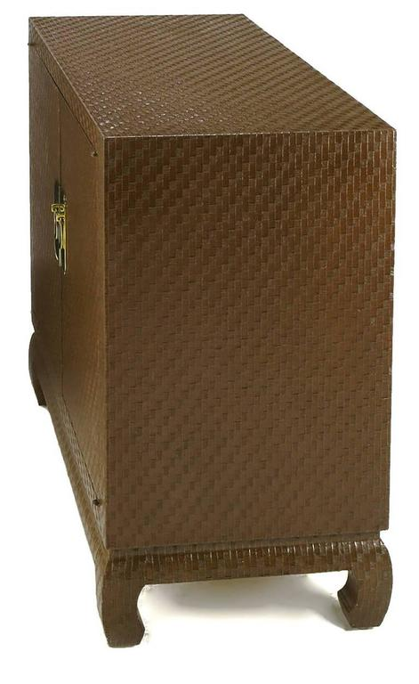 American Baker Asian Modern Cabinet in Chocolate Lacquered Grasscloth For Sale
