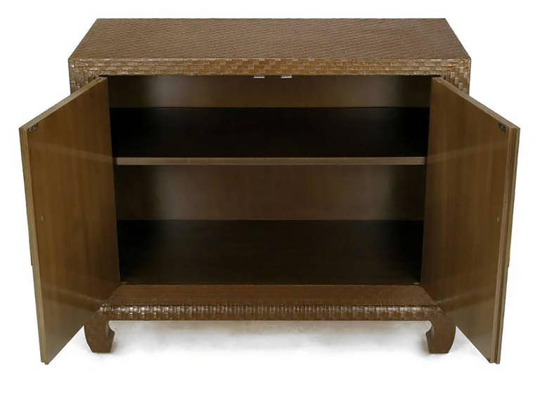 Baker Asian Modern Cabinet In Chocolate Lacquered Grasscloth In Excellent  Condition For Sale In Chicago,