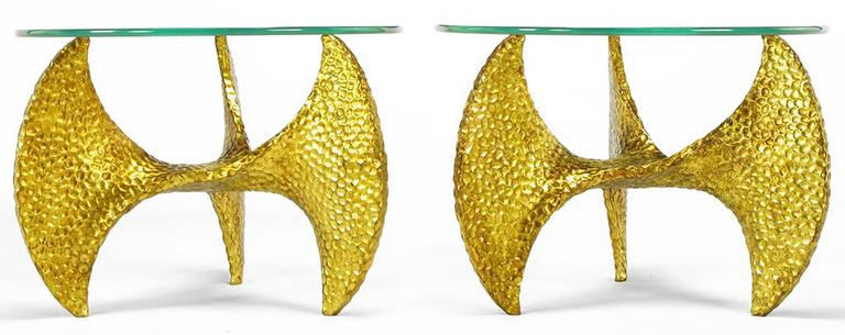 Mid-Century Modern Pair of Custom Cast and Gilt Resin Propeller Tables after Knut Hesterburg For Sale