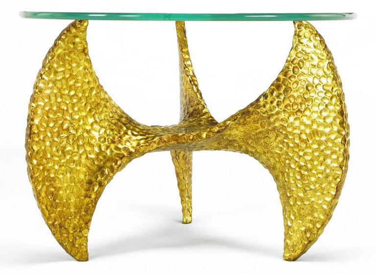 Late 20th Century Pair of Custom Cast and Gilt Resin Propeller Tables after Knut Hesterburg For Sale